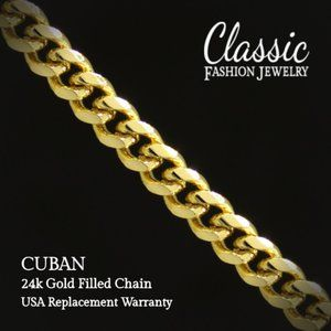 "CUBAN Chain Yellow Gold Filled 24"" 24k not 14k USA"